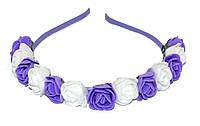 """Дитячий обруч для волосся """"трояндочки"""" - фіолет, фото 1"""