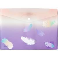 Папка-конверт на кнопке Axent А4 Colourful Feather 02