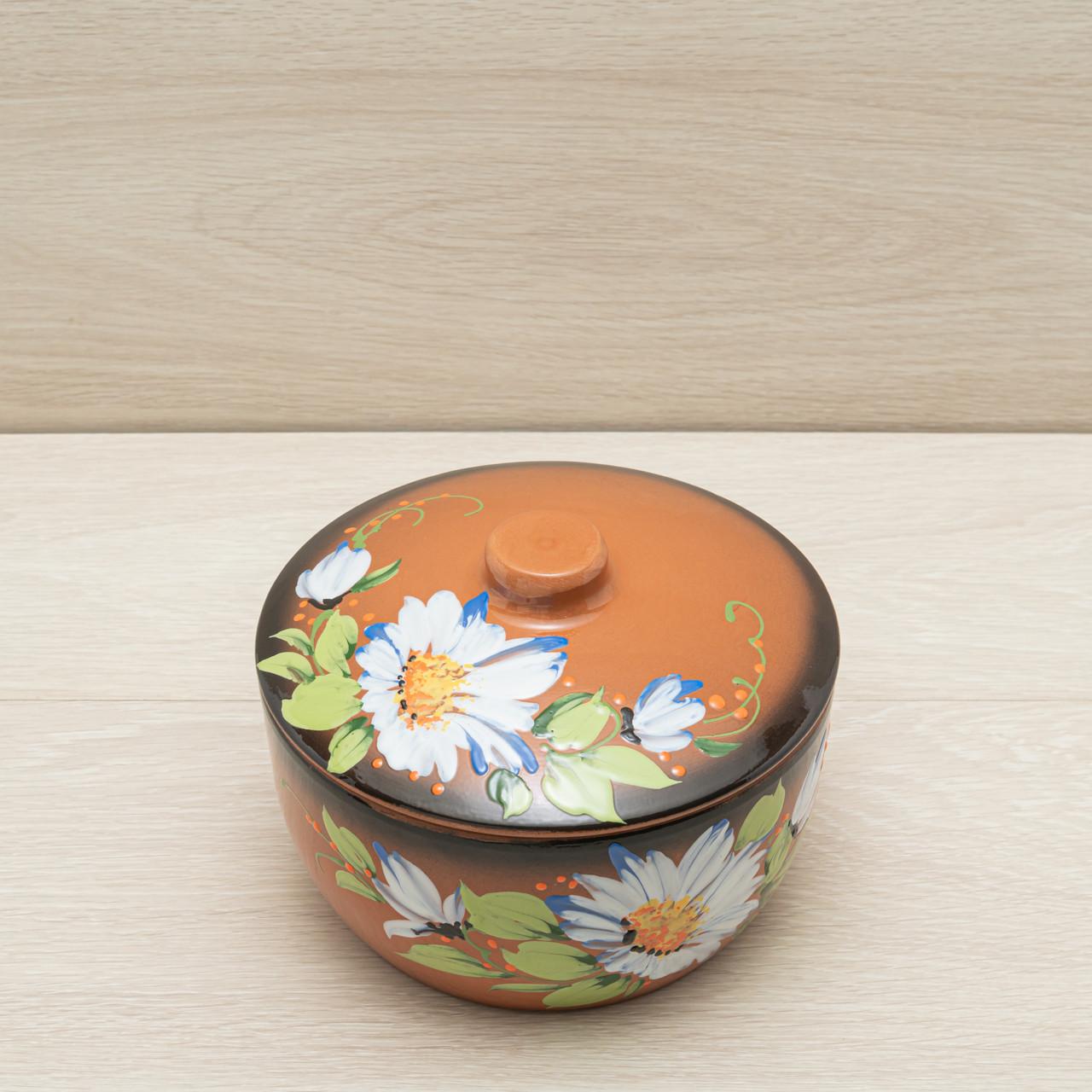 Кашник глиняный в глазури, 2.5 л, художественное оформление