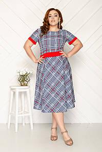 Женское платье миди с поясом 50-56 р