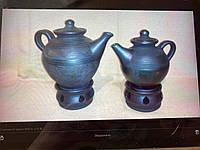 """Чайник керамічний з підставкою для підігріву 0.7 л """"Чорна кераміка"""""""