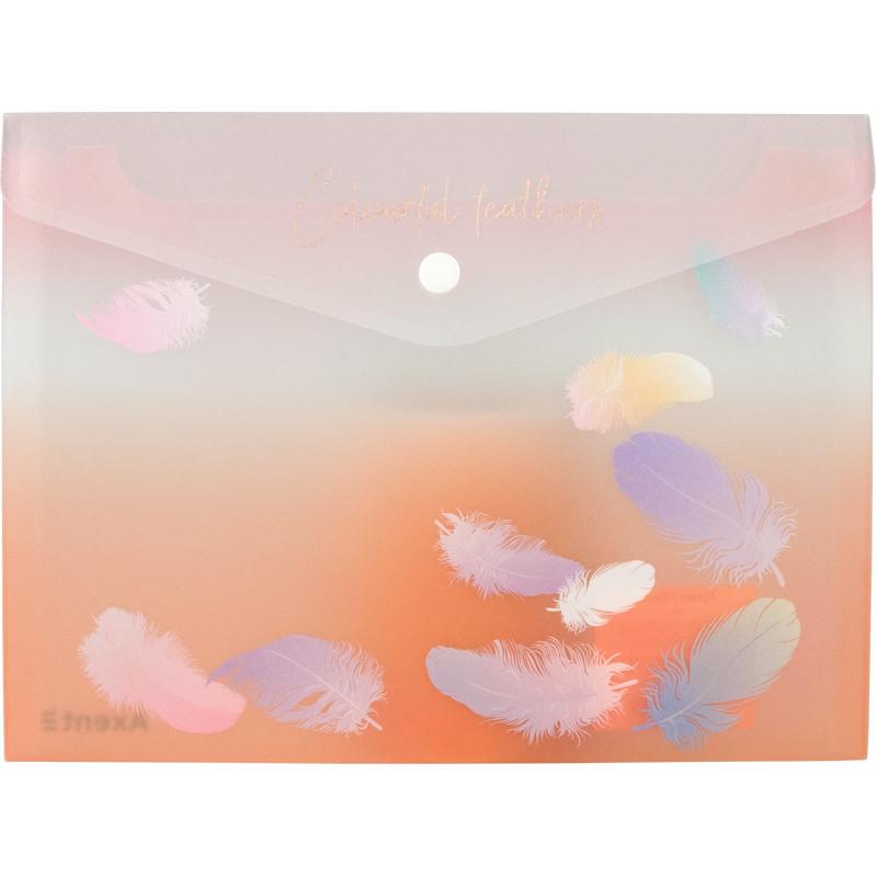 Папка-конверт на кнопке Axent А5 Colourful Feather 04