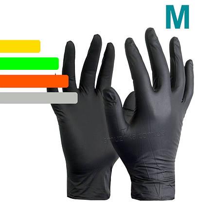 Перчатки одноразовые нитриловые черные Nitrile, размер M, фото 2