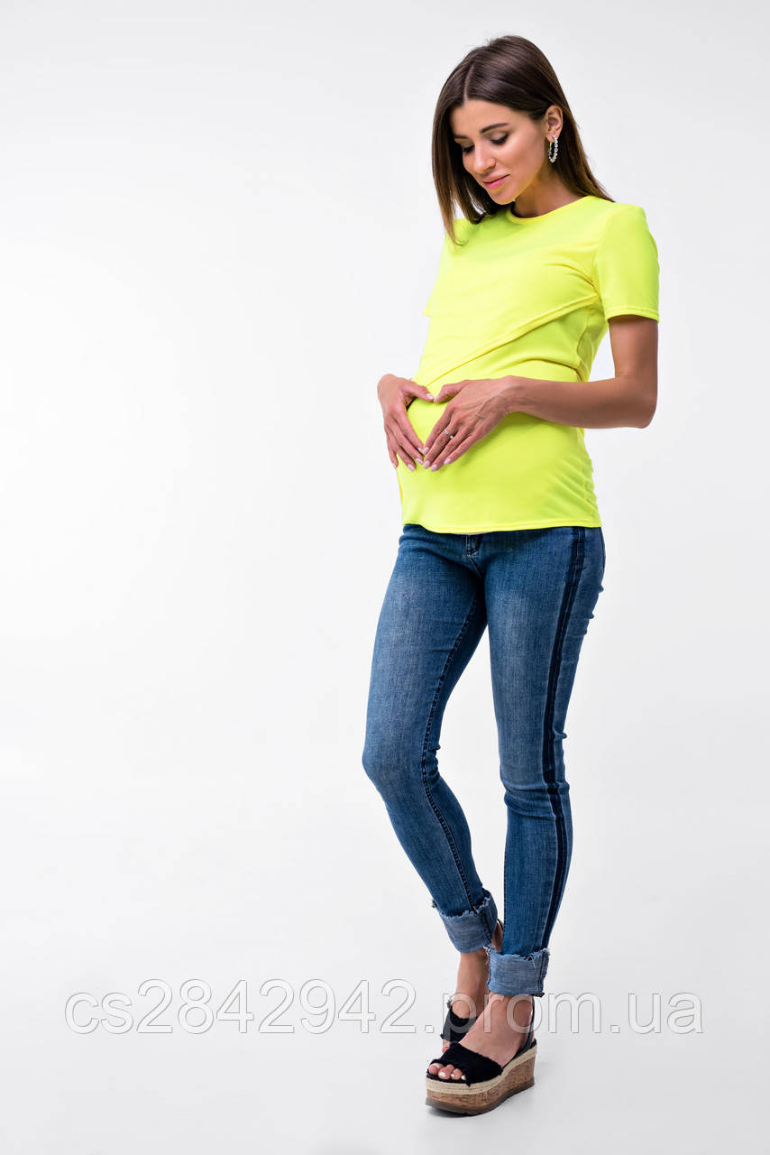 Футболка для вагітних та годуючих (Футболка для кормящих и беременных Валенсия - Лимонный)
