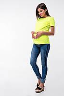 Футболка для вагітних та годуючих (Футболка для кормящих и беременных Валенсия - Лимонный), фото 1