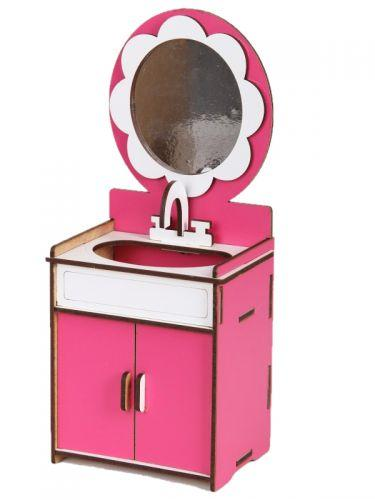 Кукольный умывальник деревянный (бело-розовый)