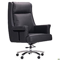 Кресло для офиса для компьютера Franklin Black мягкое черное кожаное