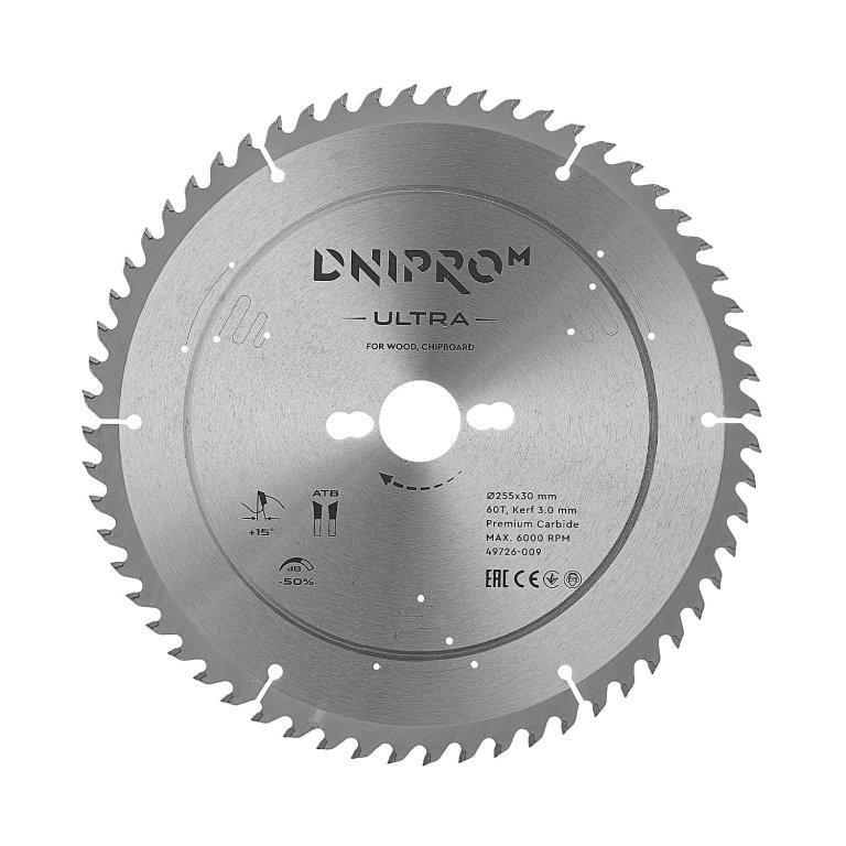 Пильный диск Dnipro-M ULTRA 255 мм 30 25.4 60Т (по дереву, ДСП)