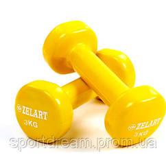 Виниловые гантели для фитнеса 2 х 3 кг TA-5225-3(Y) желтый