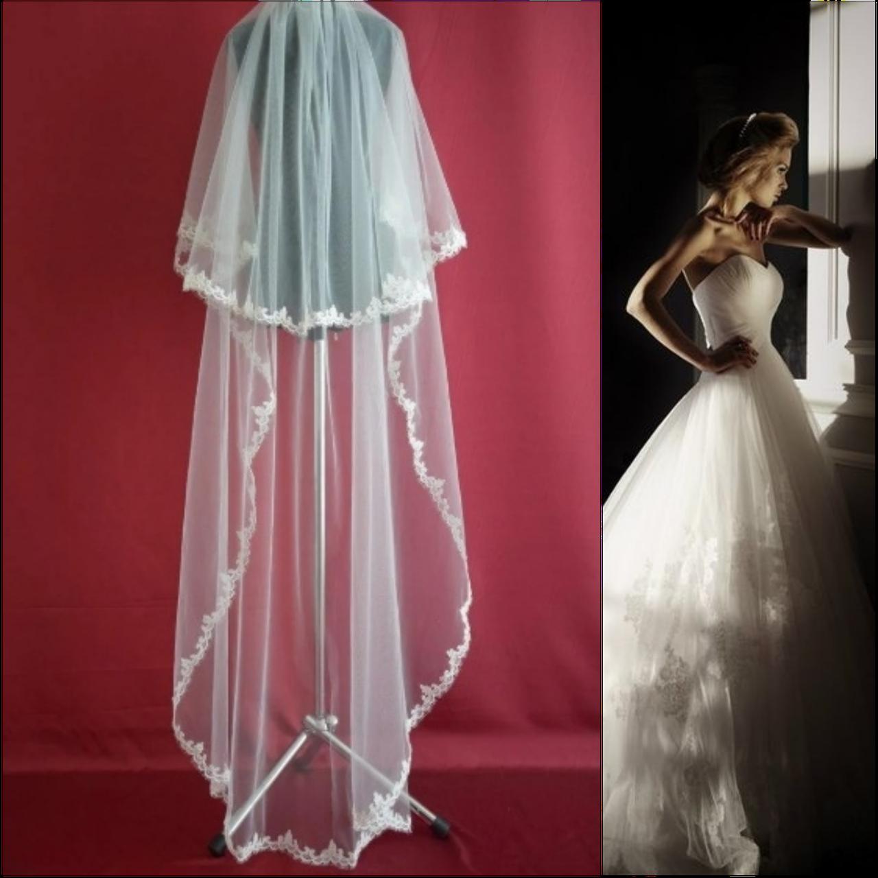 Двухъярусная свадебная Фата до пола с кружевом SF для Невесты белая (sf-008)