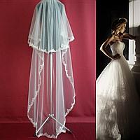 Двухъярусная свадебная Фата до пола с кружевом SF для Невесты белая (sf-008), фото 1