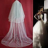 Пышная свадебная Фата до пола SF для Невесты белая (sf-012), фото 1