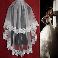 Двухъярусная свадебная Фата средней длины с кружевом шантильи SF для Невесты белая (sf-018), фото 1