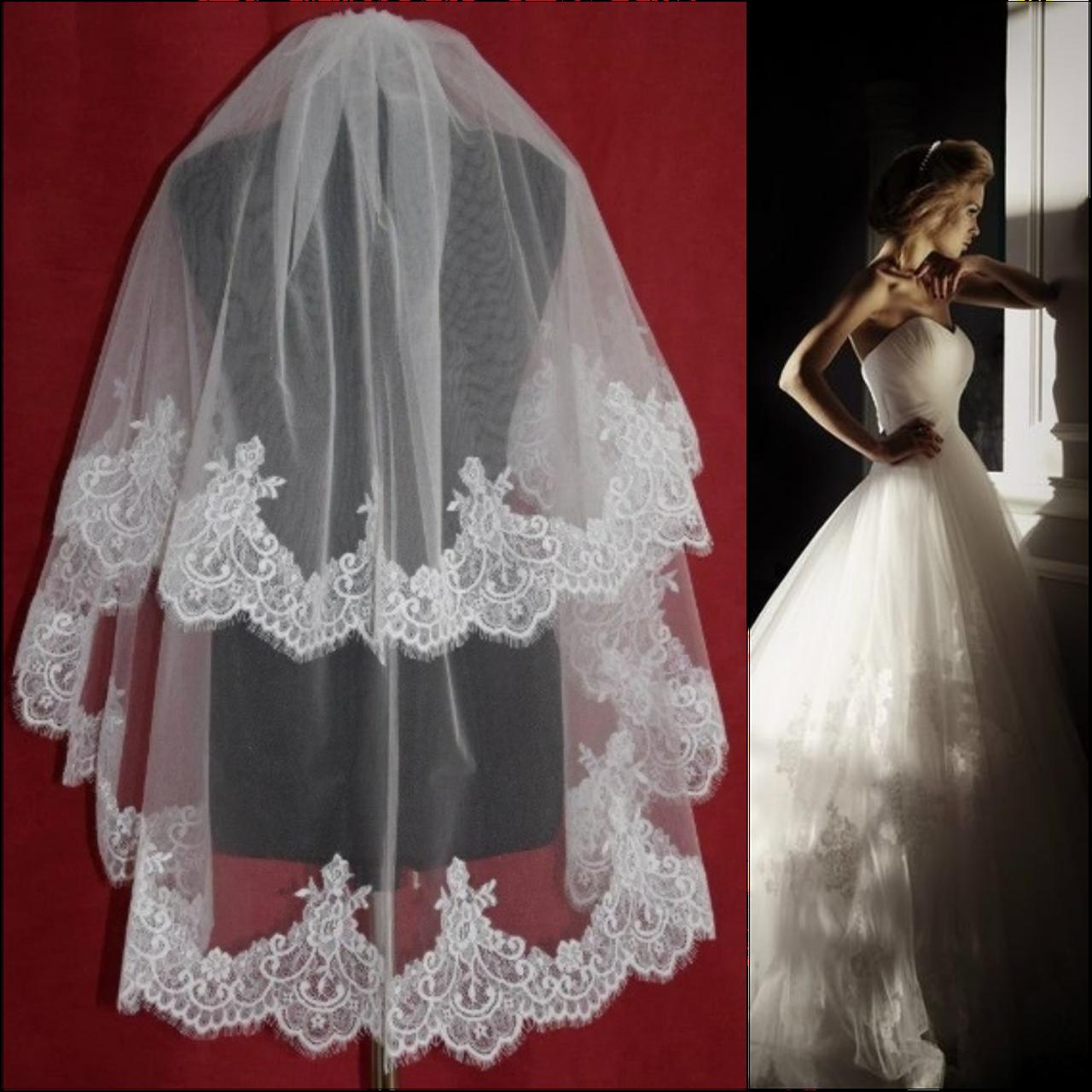 Двухъярусная свадебная Фата средней длины с кружевом шантильи SF для Невесты белая (sf-030)