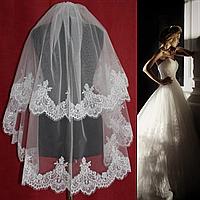 Двухъярусная свадебная Фата средней длины с кружевом шантильи SF для Невесты белая (sf-030), фото 1