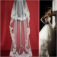 Двухъярусная свадебная Фата до пола с кружевом шантильи SF для Невесты белая (sf-041), фото 1