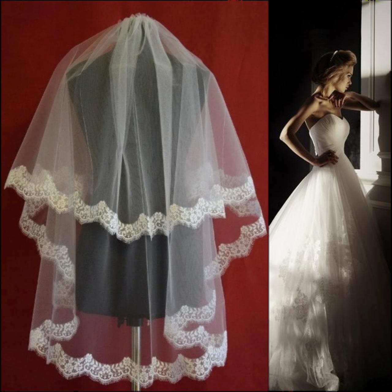 Двухъярусная свадебная Фата с кружевом шантильи SF для Невесты белая (sf-061)