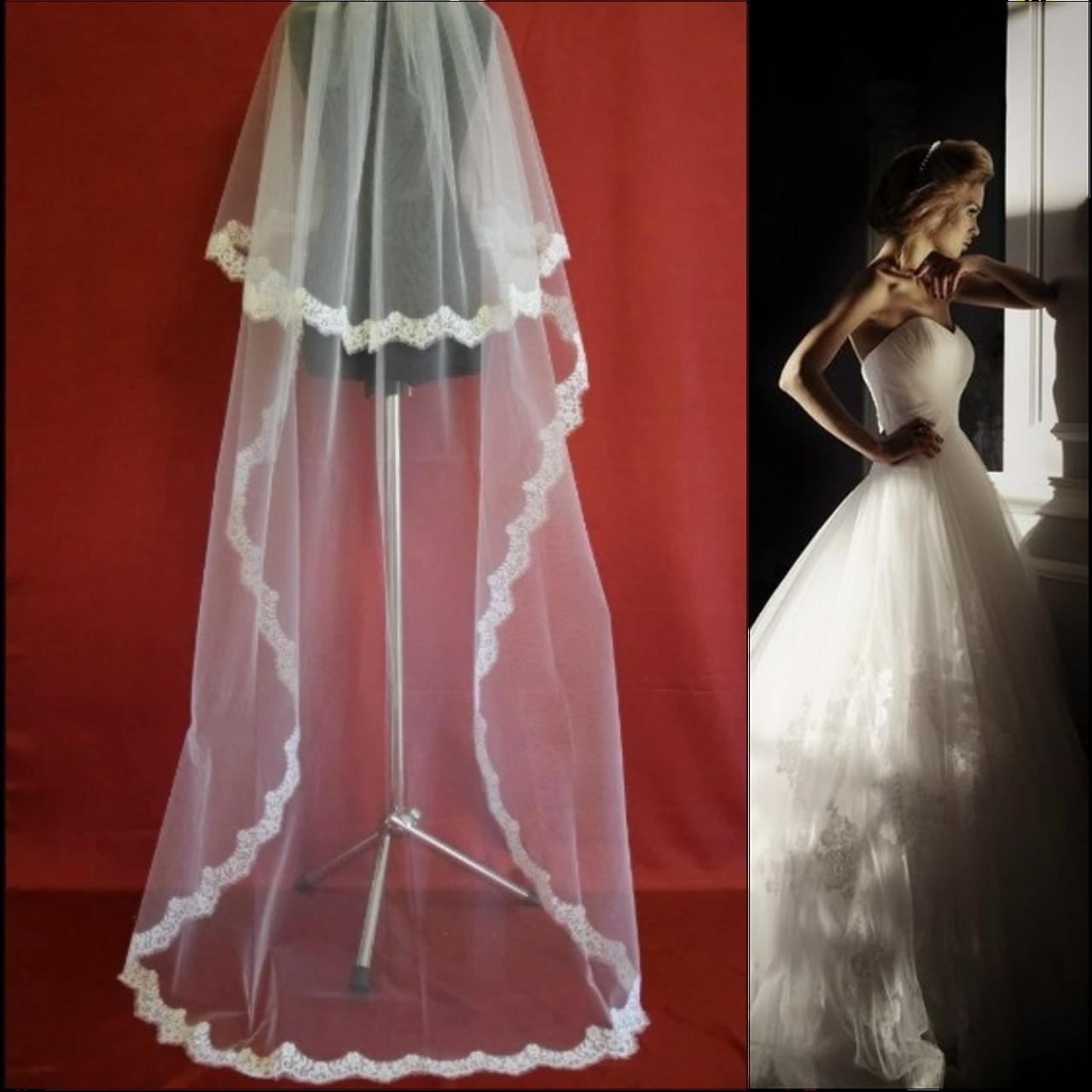 Длинная двухъярусная свадебная Фата с кружевом шантильи SF для Невесты белая (sf-075)
