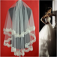 Двухъярусная свадебная Фата с бисерным кружевом SF для Невесты белая (sf-083), фото 1