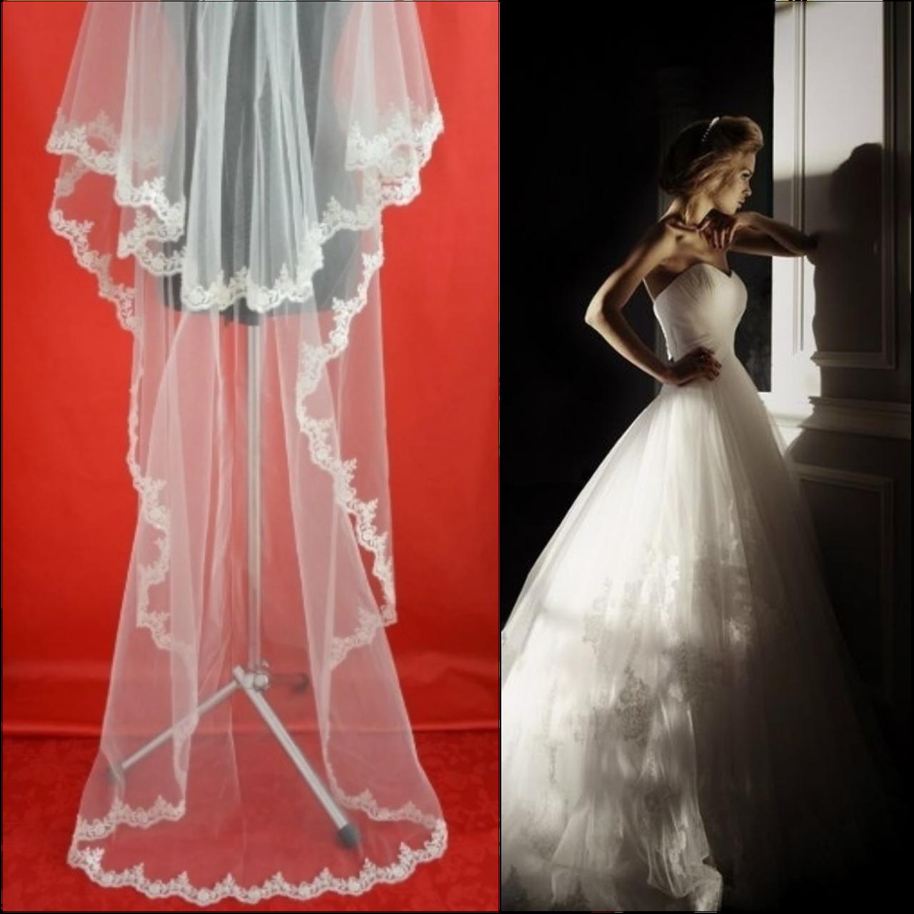 Двухъярусная свадебная Фата до пола с бисером и кружевом расшитым пайетками SF для Невесты белая (sf-101)