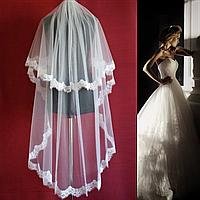 Удлиненная двухъярусная свадебная Фата с шантильи SF для Невесты белая (sf-120), фото 1