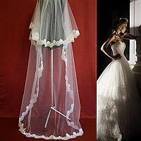 Двухъярусная длинная свадебная Фата с кружевом SF для Невесты белая (sf-126), фото 1