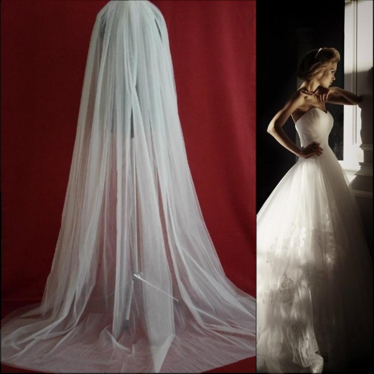 Длинная двухслойная свадебная Фата 2м SF для Невесты белая (sf-151)