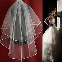 Двухъярусная пышная средней длины свадебная Фата SF для Невесты белая (sf-171)