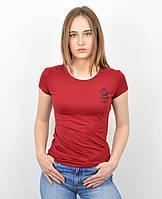 Женская футболка оптом спорт S0220 Бордо+черный, фото 1