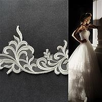Короткая ажурная двухъярусная свадебная Фата SF для Невесты айвори (sf-321)