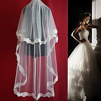 Кружевная двухъярусная свадебная Фата удлиненная SF для Невесты белая (sf-315)