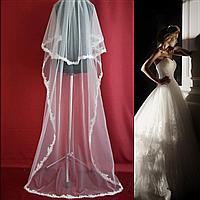 Двухъярусная свадебная Фата длинная с нежным кружевом SF для Невесты белая (sf-301)