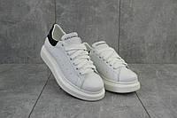 Женские кроссовки кожаные весна/осень белые-черные Road-style TJ-022-16/01