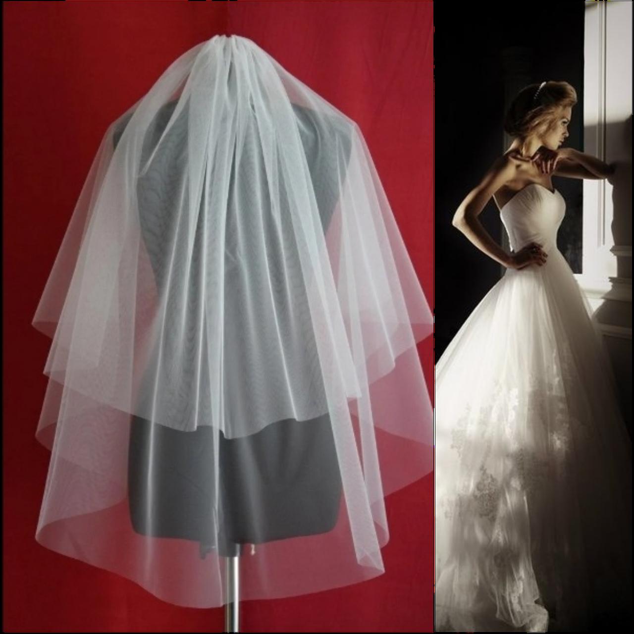 Двухъярусная обрезная свадебная Фата SF для Невесты белая (sf-001)