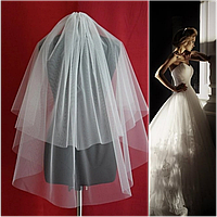 Двухъярусная обрезная свадебная Фата SF для Невесты белая (sf-001), фото 1