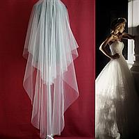 Двухъярусная длинная свадебная Фата SF для Невесты белая (sf-002), фото 1