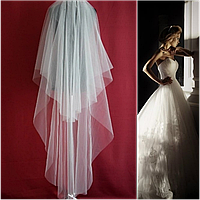 Двухъярусная длинная свадебная Фата SF для Невесты белая (sf-002)