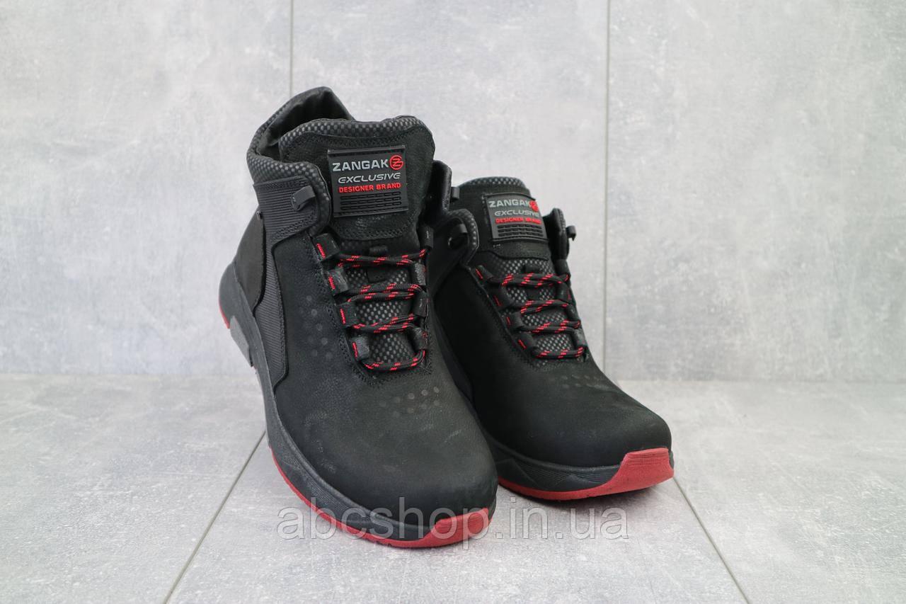 Мужские ботинки кожаные зимние черные Zangak 129 ч-н-красн