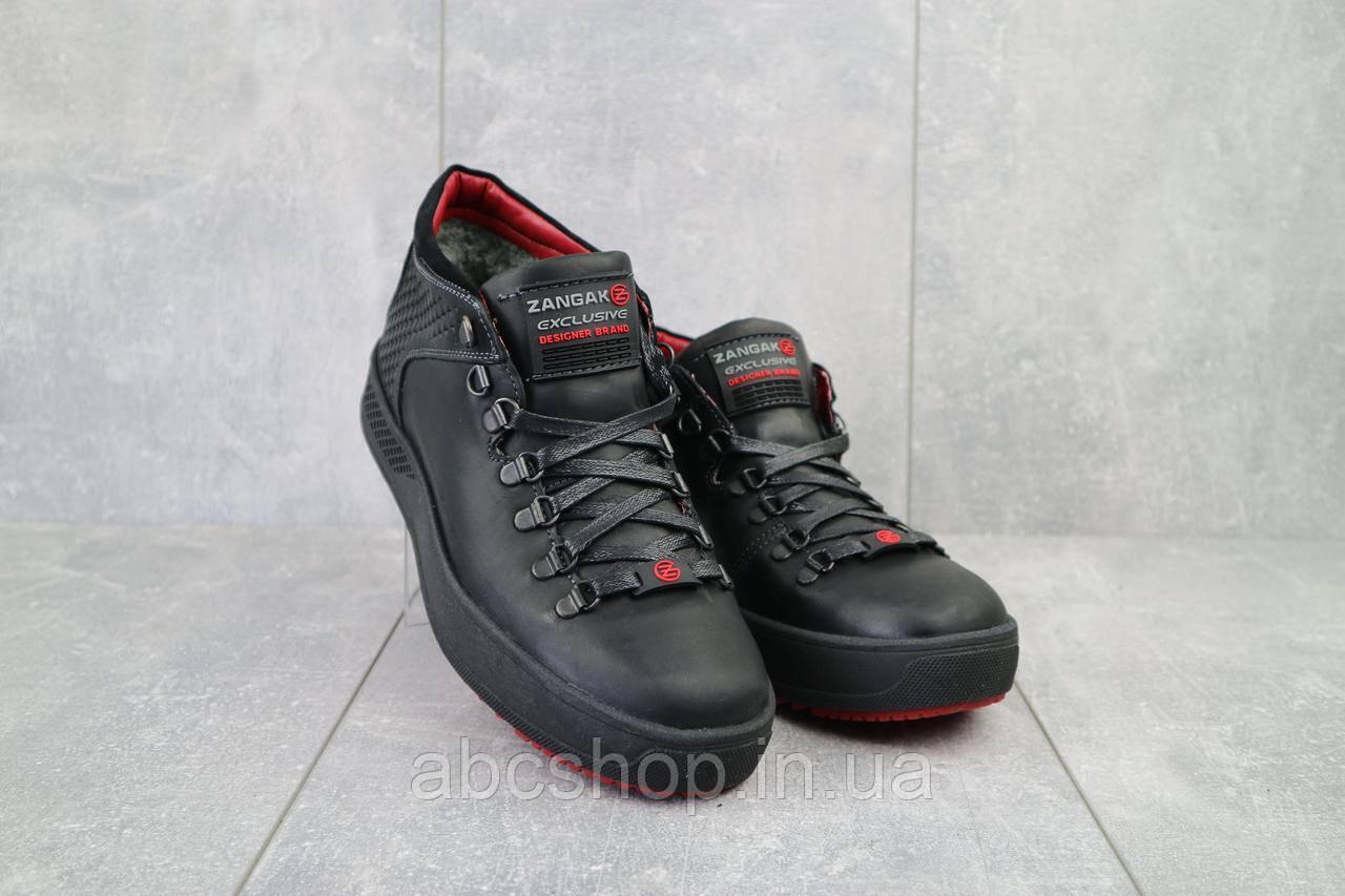 Ботинки мужские Zangak 903 ч-кр+красн  (натуральная кожа, зима)