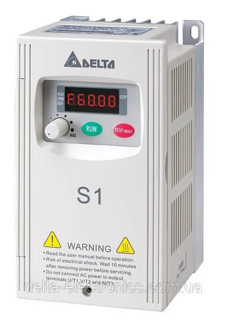 Преобразователь частоты Delta Electronics, 0,2 кВт, 230В,1ф.,скалярный,VFD002S21E