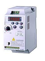 Преобразователь частоты Delta Electronics, 0,4 кВт, 230В,1ф.,скалярный,VFD004L21D