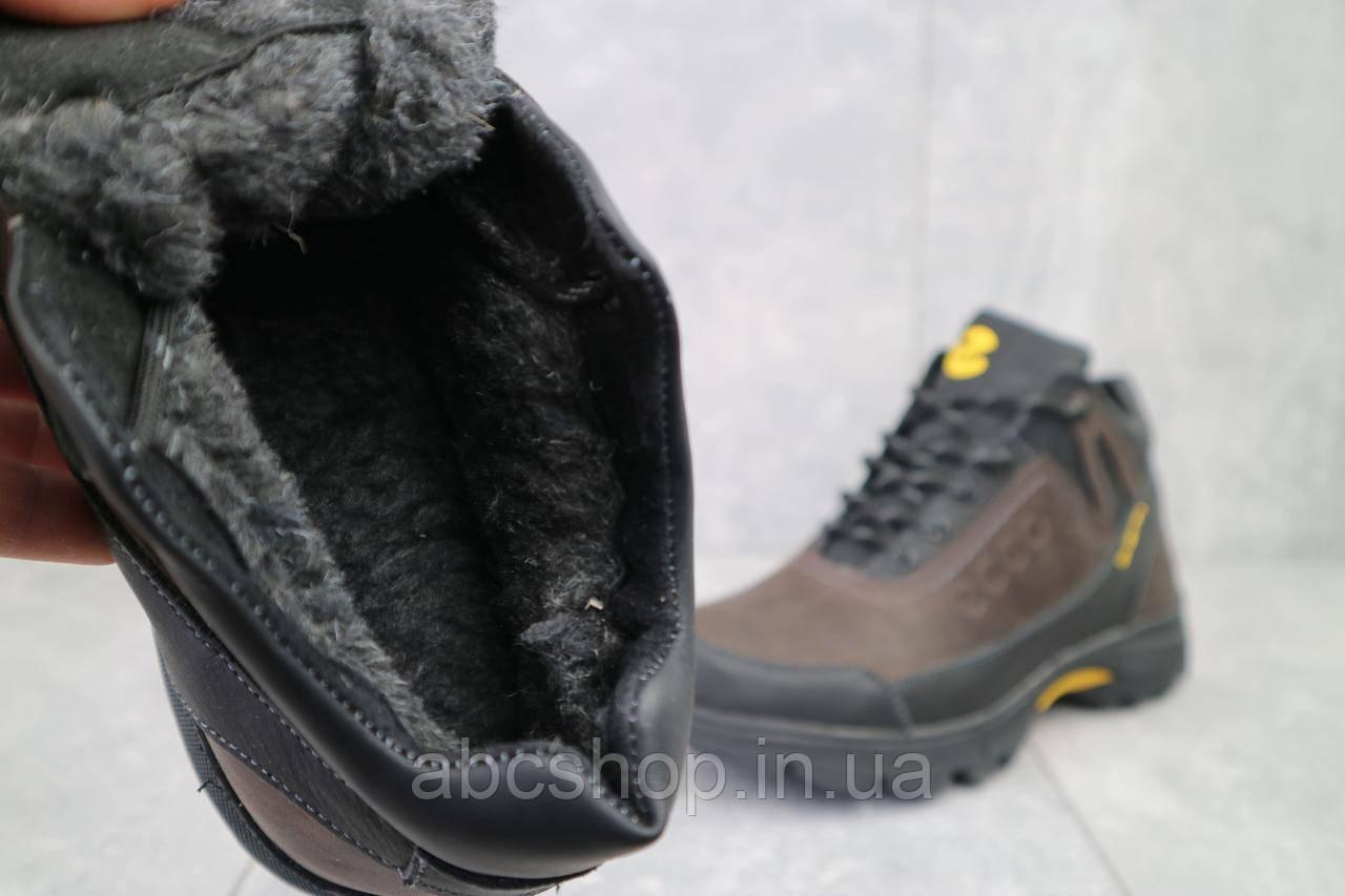 Кроссовки мужские Anser 124 черные-коричневые (натуральная кожа, зима)