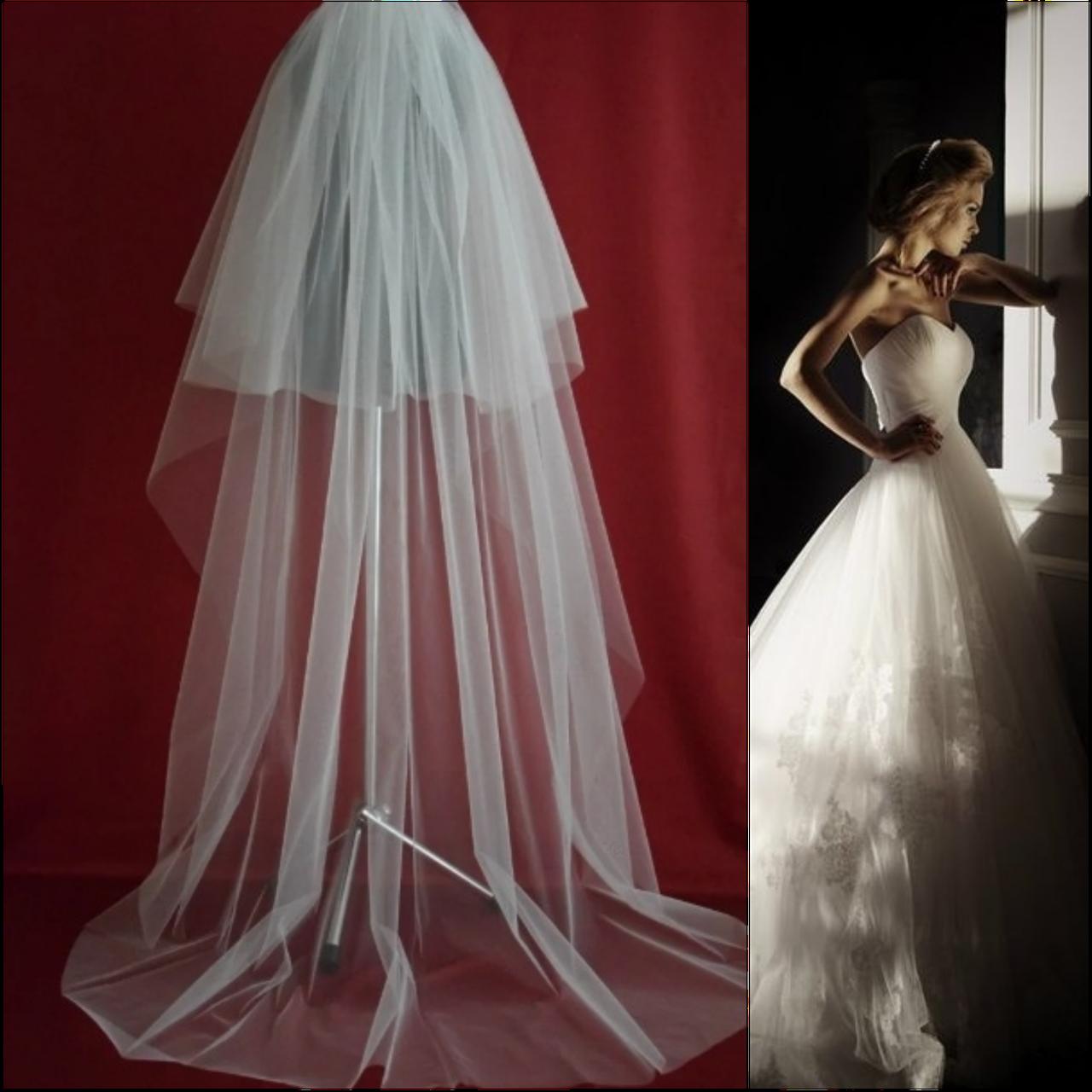 Вау! Двухъярусная длинная свадебная Фата SF для Невесты Белая/Айвори (sf-249)