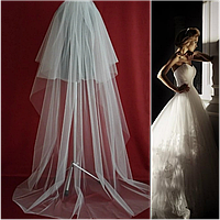 Вау! Двухъярусная длинная свадебная Фата SF для Невесты Белая/Айвори (sf-249), фото 1