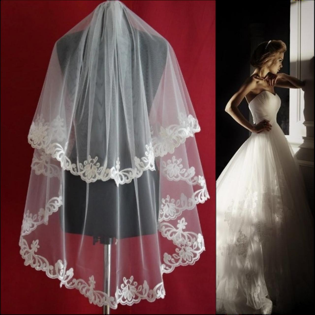 Вау! Двухъярусная кружевная средней длины свадебная Фата SF для Невесты Айвори (sf-201)