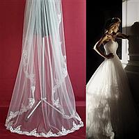 Вау! Длинная кружевная свадебная Фата SF для Невесты Белая/Айвори (sf-261), фото 1