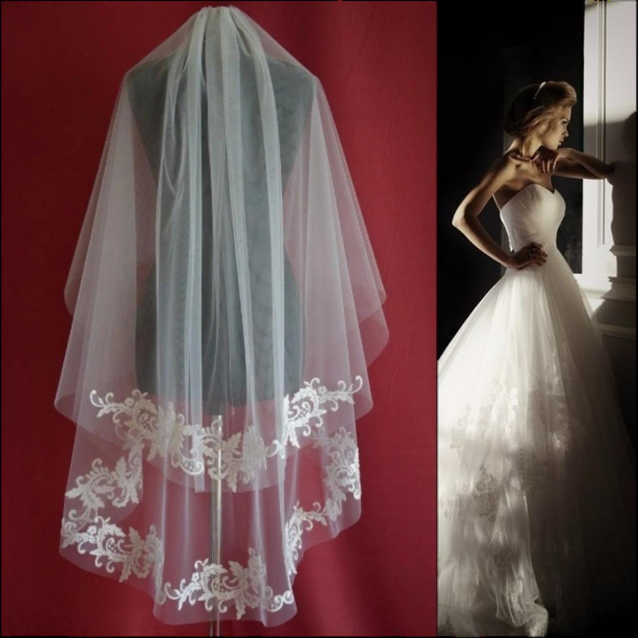 Вау! Двухъярусная удлиненная свадебная Фата апликация с пайетками SF для Невесты Белая/Айвори (sf-258)