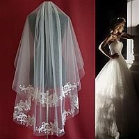 Вау! Двухъярусная удлиненная свадебная Фата апликация с пайетками SF для Невесты Белая/Айвори (sf-258), фото 1