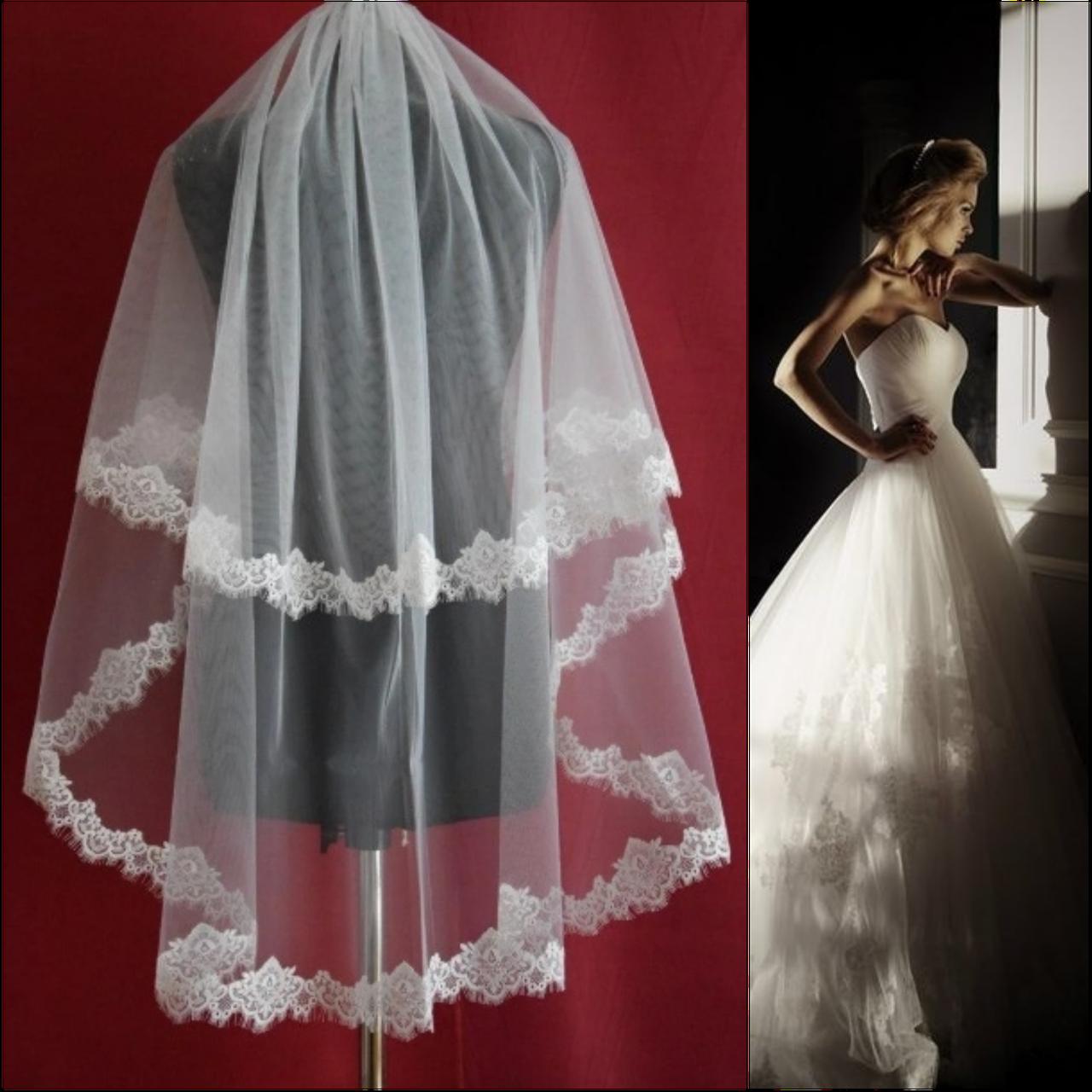 Вау! Кружевная удлиненная свадебная Фата SF для Невесты Белая/Айвори (sf-159)