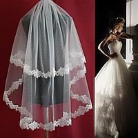 Вау! Кружевная удлиненная свадебная Фата SF для Невесты Белая/Айвори (sf-159), фото 1